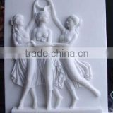Naked woman wall relief sculpture marble stone hand carved for decoration from Vietnam