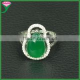 Prong setting pear cabochon green agate stone single stone sterling silver finger rings of Pakistan