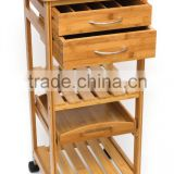 new design wood kitchen trolley with drawer 100% eco-friendly food cart bamboo Kitchen trolley with wheels