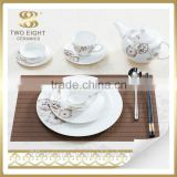 Wholesale royal bone china dinner set, used restaurant dinnerware, plate for wedding decoration