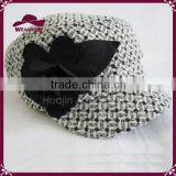 Rose Flower Wool Plaid Newsboy Cabbie Hat