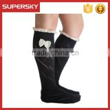 C04-8 Fashion Lady Custom Black Over The Knee Knit Lace Boot Socks Stretchy Knit Buttons Boot Socks Women Cotton Leg Warmers