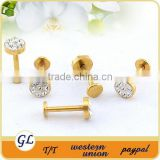 Gold plated body piercing jewelry stainless steel with crystal lip stud