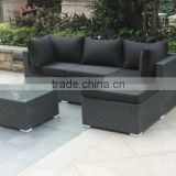 cube shape corner wicker sofa set, outdoor KD sofa set packed in one carton, synthetic rattan sofa