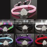 Crystal Heart Friendship Bracelets Colour Cord Silver Base