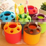 Hot sale Candy Colored Multipurpose Couples Toothbrush Toothpaste Holder/Candy color multihole pencil vase toothbrush holder