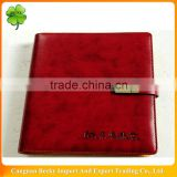 Bank/hotel promotional red imitation leather lock diary/planner with 6-ring binder