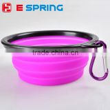 OEM Printing logo Collapsible Colorful Folding Silicone pet dog bowl with Carabiner hook