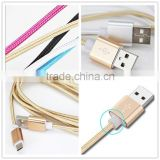 Durable 1m nylon braided usb cable for android phones, micro usb v8 charger cable charging cord