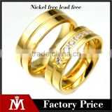 MJ Jewelry stainless steel lovers rings real gold plated rings couple crystal good quality rings