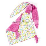 MOQ 30pcs Bunny Look Minky Toy Blanket For Baby Playing