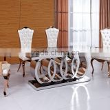 Modern big size stainless steel frame dinning table with 8 chairs