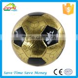PVC bright leather gold red and blue color soccer ball with custom logo printed