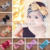 Wholesale new children 's hair accessories striped cotton head wear cute sequins bow