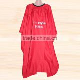 red long hairdressing apron cape printed customized logo promotional hair coloring hairdressing salon hair cutting cape