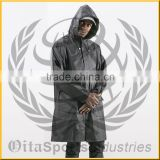 100% polyester taffeta (pu coated, waterproof) hooded rain jacket with inside lining of 100% polyester 1/5 mesh (150 gms)