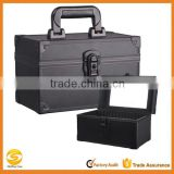 High quality black Aluminum makeup artist vanity case, cosmetic jewelry storage box, beauty box makeup vanity case bag