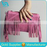 Boho Suede Leather Fringe bag Suede Leather Woman Clutch Bag With Tassel                                                                         Quality Choice