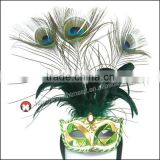 Handmade very beauty half face Rhinestone long peacock feather chicken feather party mask