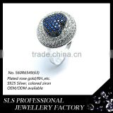 Shengleishi jewelry wholesale Turkish trendy jewelry white gold plated heart shaped natural blue sapphire ring