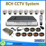 cctv surveillance dvr system security camera 8 channel,CMOS/Sony chip dome home use cctv camera system