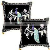 New christmas Intricate Hand Embroidery with gold & silver threads (Zardosi) work cushion covers