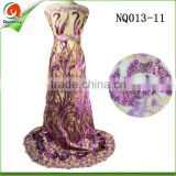 purple sequin french lace fabric high quality embroidery dress fabric with sequince NQ013-11