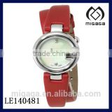 pearl dial red leather double strap fashion watch
