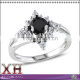 China Alibaba Hot Sale Model Round-Cut Black Diamond Center Stone Rings