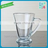 2016 hot sale glass mug V shape transparent glass mug wholesale glass mug with thick bottom