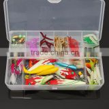 Newset Hot Sale 100Pcs/lot Kinds of Fishing Lure Soft Lure Kits Spoons Lead Minnow Hooks Bait Fishing Suit Set Tackle + Box NEW