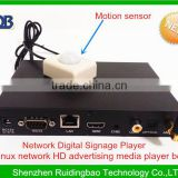 RDB Linux 1186 network HD advertising media player box support usb wifi dongle push button and motion sensor DS009-27