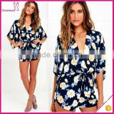 Hot Selling Elastic Waist Short Sleeve Navy Blue Floral Print Sexy Women Romper