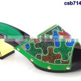 CSB7148 green New coming design Italian style hot selling quality shoes with stone on factory costy