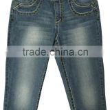 Adults fashion women's blue denim embroidery bermuda jeans shorts wholesale manufacturer