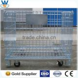 4 Layers Folding Steel Wire Mesh Display Storage Stacking Cage Container,Roll Container, roll cage, wire cage C-1