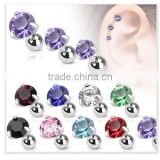 Round CZ Cartilage Upper Ear Stud Earring Tragus Helix Bar