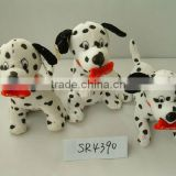 beautiful customized soft plush stuffed spotty dog animal toy with embroidered bone pillow&silk bowtie for valentine day