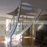 double stringer wood step glass guards curved Staircase