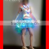 Lighted Blue and White Short Dress for Belly Dancing Training / Ballroom Dance Suit