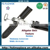 FS FLOWER - Genuine Leather Strap Crocodile Skin Stitched Slight Wrinkle Texture 20mm
