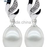 2016 Korean 8-9mm white hot sale drop freshwater wedding women Pearl earring jewel