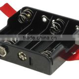 BH347-R-GR black battery holder with snaps and ribbon, size 4 AA