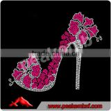 Bling transfer Flowers High Heel Shoes womens rhinestone tshirt