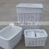 Grey wash large wicker laundry basket with lid, willow household storage basket- set of 5