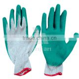 cheap wholesale price Latex coated cotton glove 10 gauge one thread flat finished coating latex examination gloves