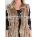 SJ015-01 Newest Fashion Fur Handknit Woman's Winter Vest