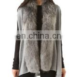 2015 women fine kintting tailed fur vest with raccoon fur collar /quality supplier
