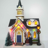 Christmas Decoration 10'' Plastic church house with led
