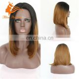 Middle Part Lace Front Wig Blonde Silky Straight Ombre Brazilian 1BT27 Full Swiss Glueless Lace Human Hair Wig